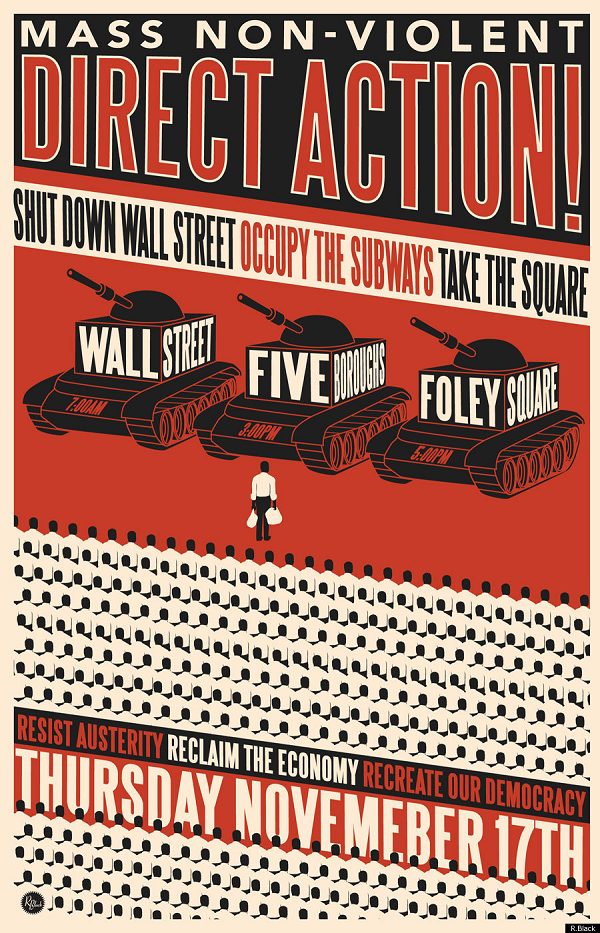 Occupy Wall Street art poster by oakland artists R.Black draws inspiration from Tiananmen Square
