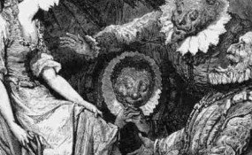 Fawning yes-men old engraving