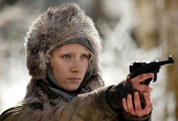 Still from the film Hanna showing Saoirse Ronan with a gun