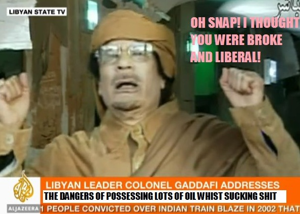 Gaddafi shaking fists in anticipation of attack by rebels