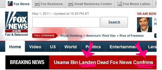 Screenshit of severe Fox news editing error on website about Bin Laden's death