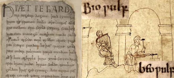 authentic medieval Beowulf manuscript illustration