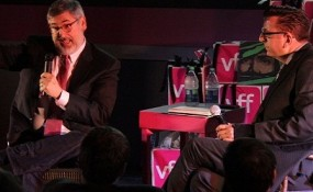 Richard Crouse interviewing john Landis at the Victoria film festival
