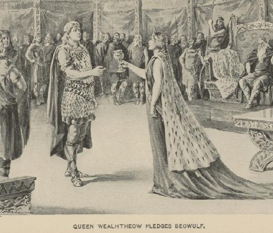 depiction of Beowulf and queen