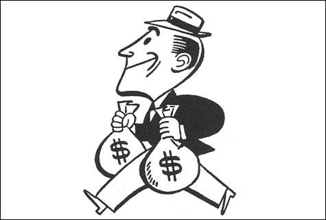 a man running away with money comic