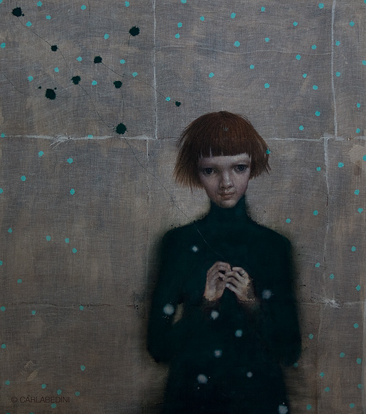 painting of a girl by Italian artist Carla Bedini