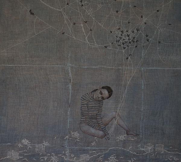 painting of a girl by Italian artist Carla Bedini