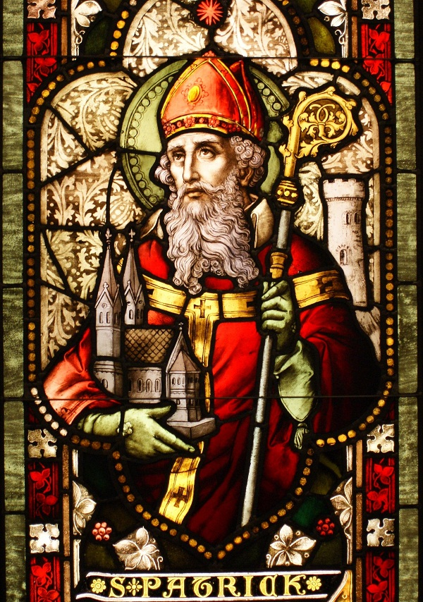 saint ptrick the patron saint of ireland holding a cool scepter- stained glass