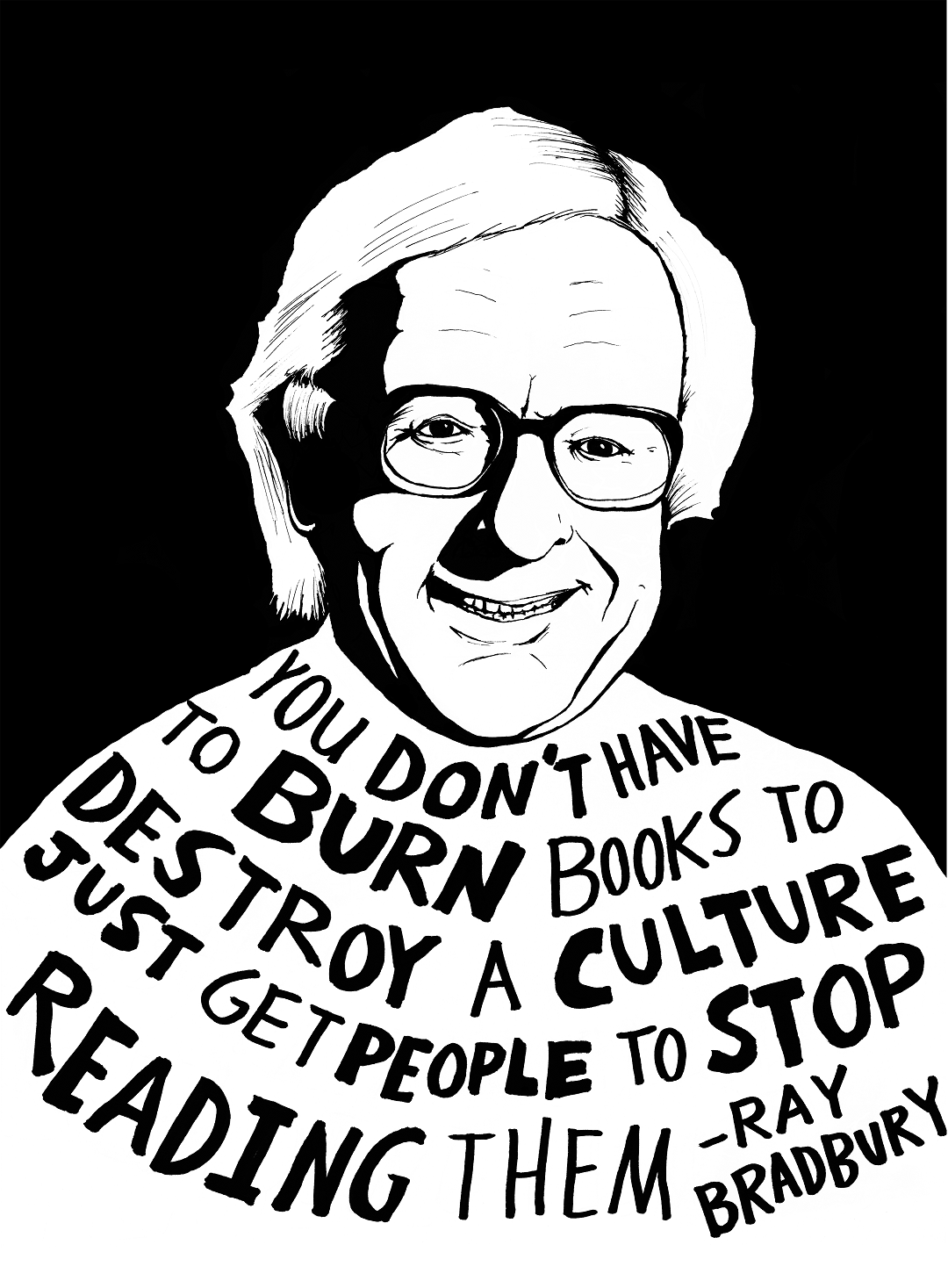 Ray Bradbury depicted in art by Ryan Sheffield