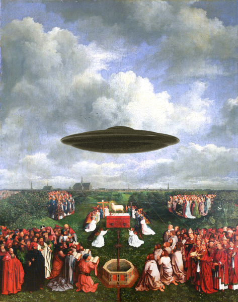 artwork by Montreal artist Emmanuel Laflamme featuring religious aliens