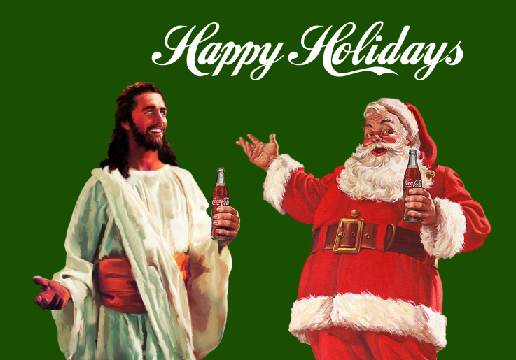 artwork by Montreal artist Emmanuel Laflamme featuring Jesus Christ and Santa Claus