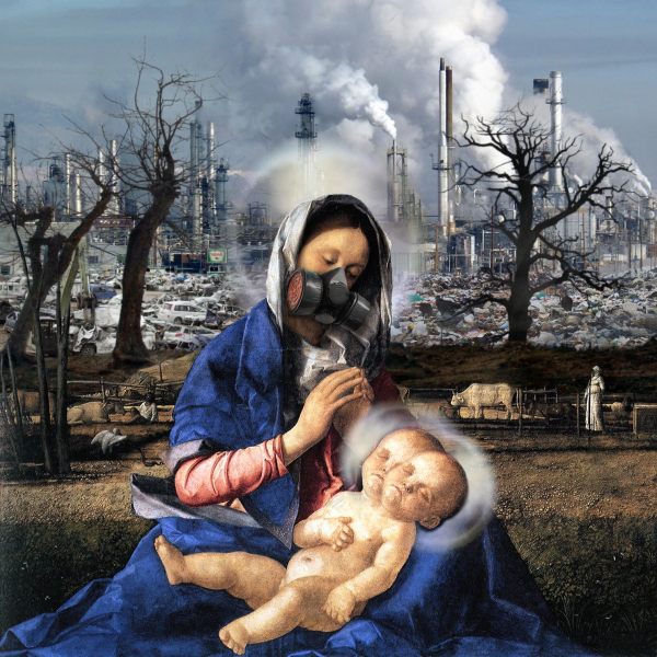 artwork by Montreal artist Emmanuel Laflamme featuring Mary and nuclear fallout