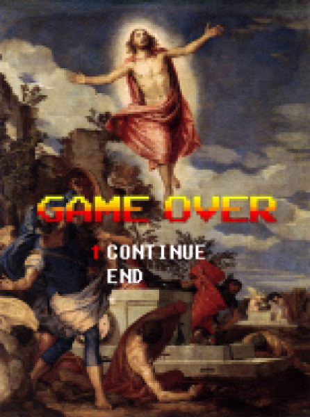artwork by Montreal artist Emmanuel Laflamme featuring Christ in a video game