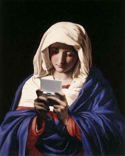 artwork by Montreal artist Emmanuel Laflamme featuring Mary Christ and the Bible