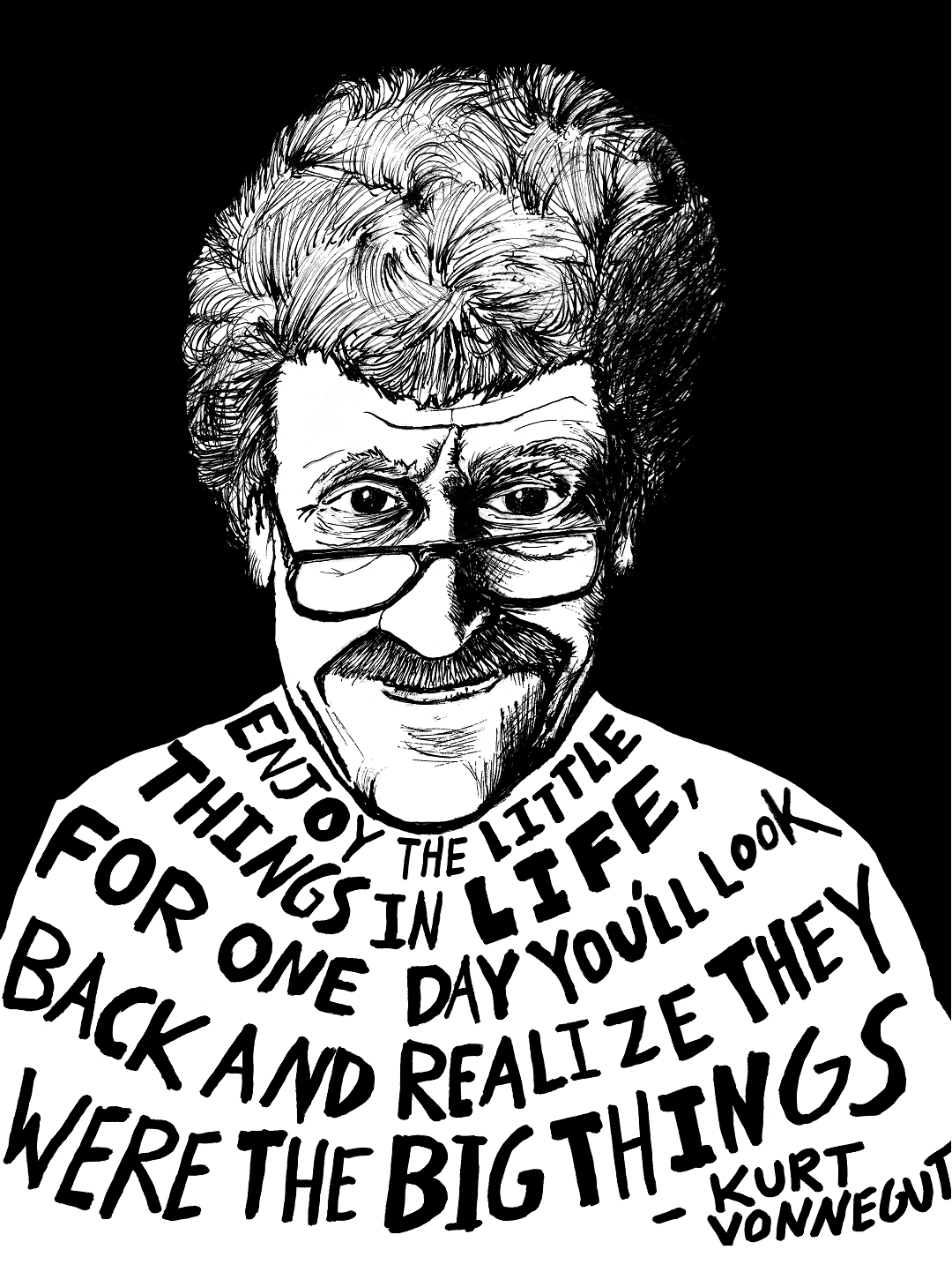 Kurt Vonnegut depicted in art by Ryan Sheffield