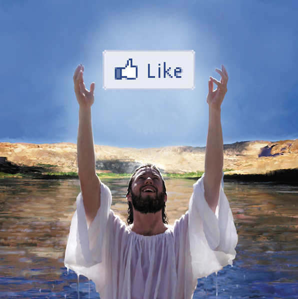 artwork by Montreal artist Emmanuel Laflamme featuring Christ from the Bible  and facebook like button