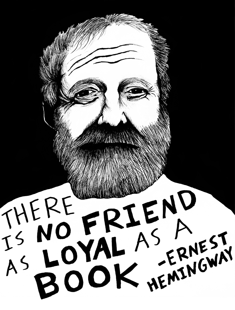 Hemmingway depicted in art by Ryan Sheffield