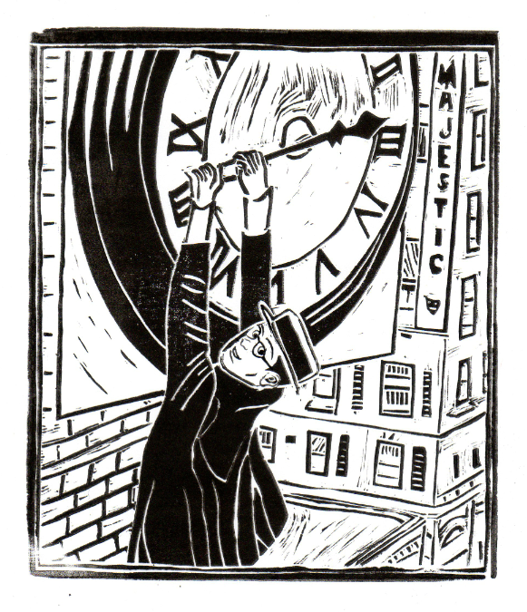 Harold Lloyd clinging from a building clock from the silent film 'Safety Last'.