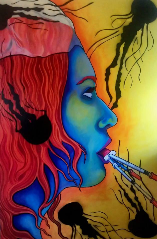 Woman with needles in her mouth with fire red hair by artist Caroline Green