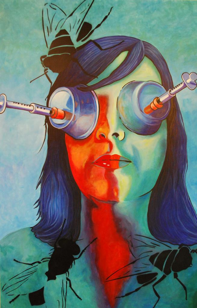 Needles woman's eyes by Caroline Green Artist