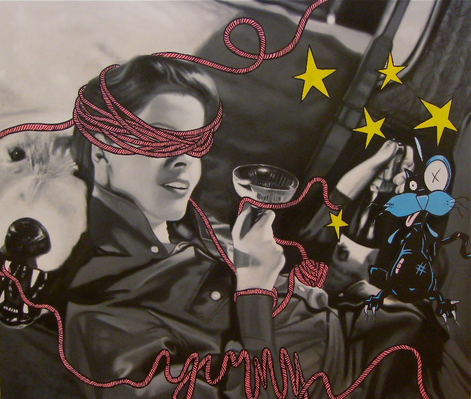 rope, pink, martini, woman, cat, stars black and white, hollywood
